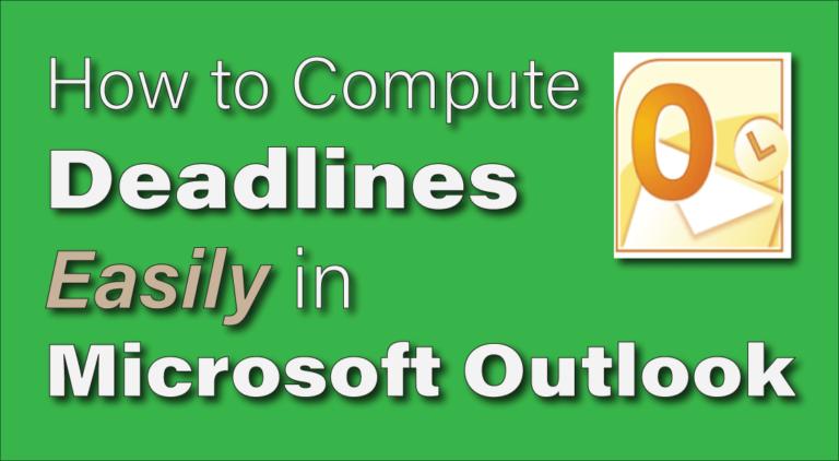 calculate court deadlines in outlook